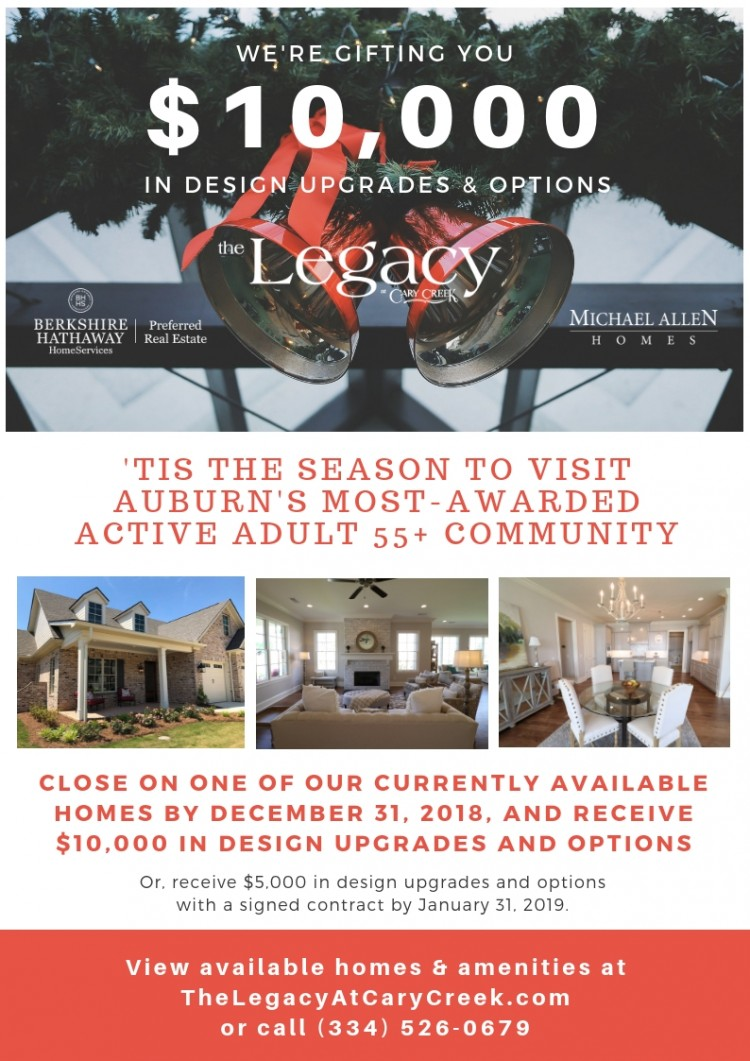Active Adult 55+ community in Auburn AL Holiday Discount